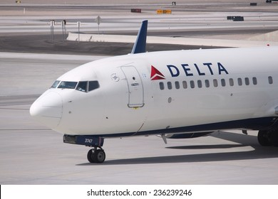 LAS VEGAS, USA - APRIL 15, 2014: Boeing 737 of Delta Airlines at Las Vegas McCarran International Airport. As of 2013 Delta was the largest airline in the world with 120 million annual passengers.