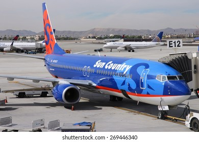 LAS VEGAS, USA - APRIL 15, 2014: Boeing 737-800 of Sun Country Airlines at Las Vegas McCarran International Airport. Sun Country exists since 1983 and flies a fleet of 21 B737.