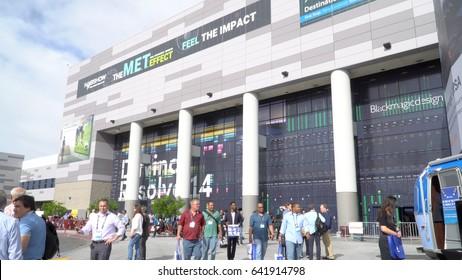 Las Vegas, USA - April 2017: NAB show Las Vegas Convention Center exterior facade entrance photo. National Association of Broadcasters.