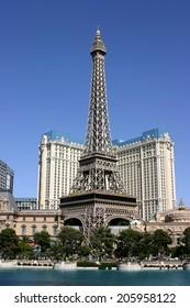 Las Vegas, USA - April 25, 2008: The landmark of the hotel Paris in Las Vegas is the replica of the Eifeltower.