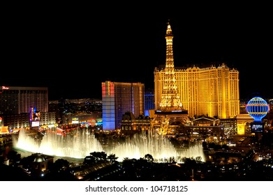 LAS VEGAS, USA - APRIL 7: Fountains of Bellagio on April 7, 2011 in Las Vegas. Fountains of Bellagio, which have featured in several movies, is a large dancing water fountain synchronized to music.