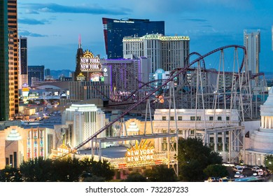 LAS VEGAS, USA - AUGUST 21, 2017: New York New York Hotel & Casino. The hotel has over 2000 rooms and its very own roller coaster. Editorial.