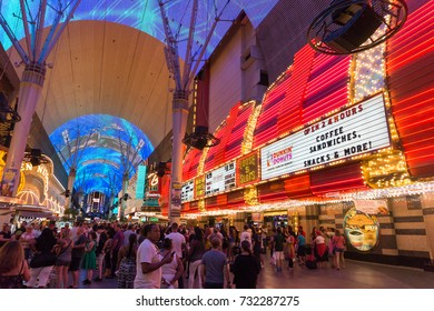 LAS VEGAS, USA - AUGUST 21, 2017: People in Fremont Street Experience at night. The district is famous for its numerous casinos, performers and restaurants. Editorial.