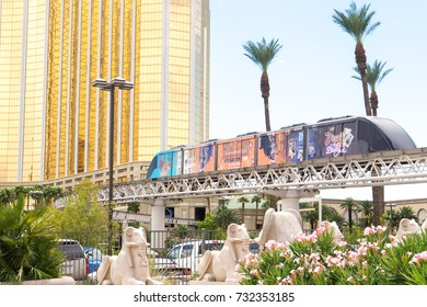 LAS VEGAS, USA - AUGUST 21, 2017: Monorail in Las Vegas. The modern train connects several casinos and attractions with its almost four miles long route. Editorial.