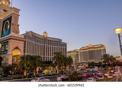 LAS VEGAS, USA - December 18, 2016: The Strip with Bellagio and Caesars Palace Hotel and Casino