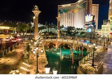 LAS VEGAS, USA - December 20, 2016: Grand Canal of Venetian Hotel Casino at night