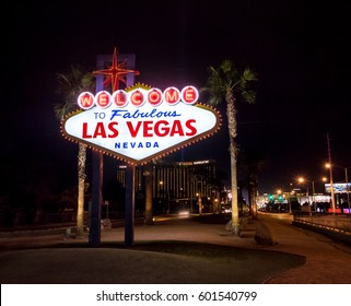 LAS VEGAS, USA - December 20, 2016: Welcome to Las Vegas Sign at night