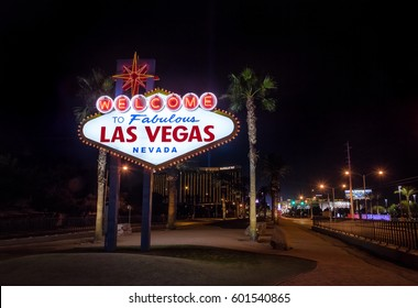 LAS VEGAS, USA - December 20, 2016: Welcome to Las Vegas Sign at night