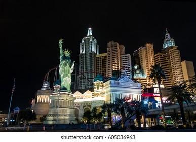 LAS VEGAS, USA - December 20, 2016: New York New York Hotel and Casino at night