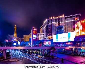 LAS VEGAS, USA - December 22, 2016: Las Vegas Strip at Night