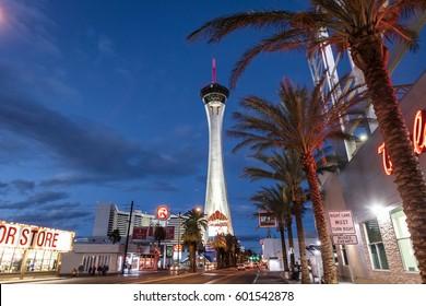 LAS VEGAS, USA - December 23, 2016: Stratosphere Hotel and Casino at night