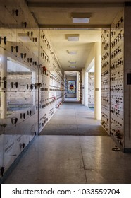 Las Vegas, USA - December 28, 2017 : Urns with ashes in a columbarium wall of the Palm Downtown Mortuary and Cemetery in Las Vegas.