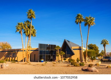 Las Vegas, USA - December 28, 2017 : Palm Boulder Highway Mortuary and Cemetery in Las Vegas. This building is known from the James Bond movie titled Diamonds are forever.