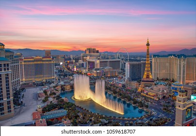 Las Vegas, USA - January 02, 2018: Illuminated view Bellagio Hotel fountains and Las Vegas strip