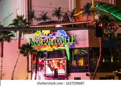 Las Vegas, USA - January 2016 : Margaritaville facade neons on the Las Vegas Strip at night