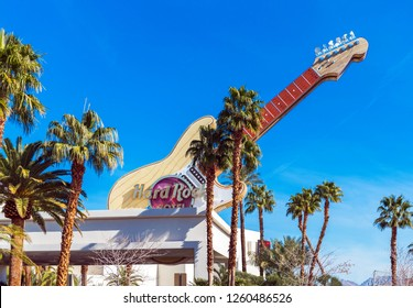 LAS VEGAS, USA - JANUARY 31, 2018: View of the facade of the hotel building Hard Rock. Isolated on blue background