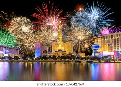 LAS VEGAS, USA - JANUARY 4, 2020: New Year celebration fireworks on Las Vegas strip on January 4, 2020 in Las Vegas, Nevada. The Las Vegas is home to the largest hotels and casinos in the world.