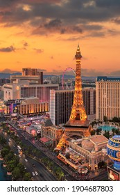 LAS VEGAS, USA - JANUARY 6, 2020: Aerial view of Las Vegas strip at sunset on January 6, 2020 in Las Vegas, Nevada. Las Vegas is one of the top tourist destinations in the world.