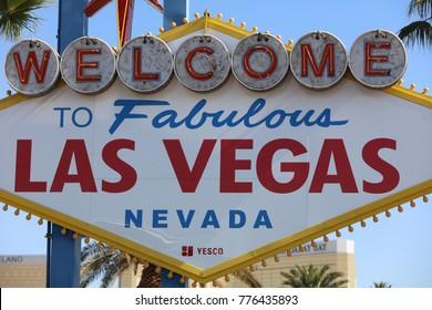 LAS VEGAS, USA - JULY 01, 2017: Welcome to Fabulous Las Vegas Sign in Nevada. USA