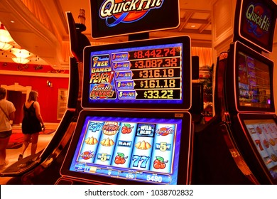 Las Vegas, USA - july 11 2016 : slot machines in the Bellagio hotel casino on the Strip