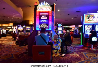 Las Vegas, USA - july 11 2016 : slot machines in the luxury Luxor hotel casino