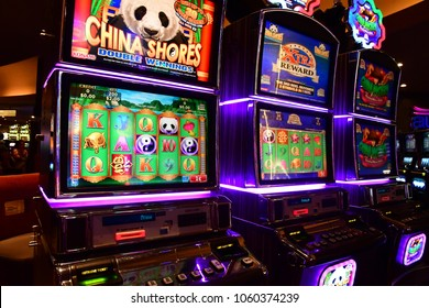 Las Vegas, USA - july 11 2016 : slot machines in the luxury Luxor hotel casino