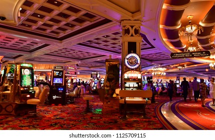 Las Vegas, USA - july 11 2016 : slot machines in the Bellagio hotel casino on the Strip