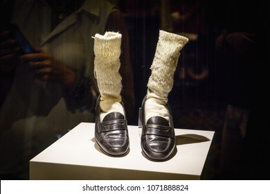 Las Vegas, USA - July, 2016 Michael Jackson' Florsheim shoes and socks with rhinestones Las Vegas Strip at night in Nevada USA, summer