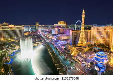 LAS VEGAS, USA - JULY 24, 2018: World famous Vegas Strip in Las Vegas, Nevada as seen at night on July 24, 2018 in Las Vegas, USA. The Strip is home to the largest hotels and casinos in the world.