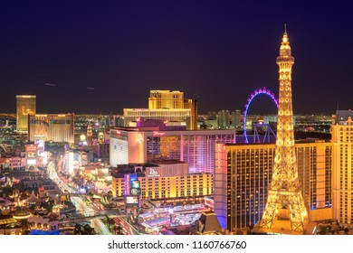 LAS VEGAS, USA - JULY 24, 2018: Las Vegas Strip skyline at night on July 24, 2018 in Las Vegas, USA. The Strip is home to the largest hotels and casinos in the world.