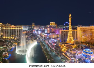 LAS VEGAS, USA - JULY 24, 2018: World famous Vegas Strip in Las Vegas, Nevada as seen at night on July 24, 2018 in Las Vegas, USA. The Strip is home to the largest casinos in the world.