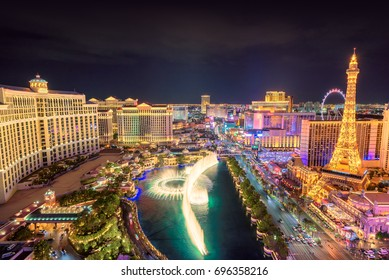LAS VEGAS, USA - July 25, 2017: Fountain show at Bellagio hotel and casino at night on July 25, 2017 in Las Vegas, USA. Las Vegas is one of the top tourist destinations in the world.
