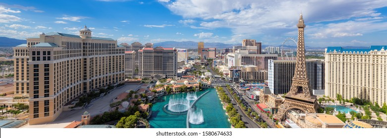 LAS VEGAS, USA - JULY 4, 2019: Panoramic view of Las Vegas Strip as seen at sunny day on July 4, 2019 in Las Vegas, USA. The Strip is home to the largest hotels and casinos in the world.