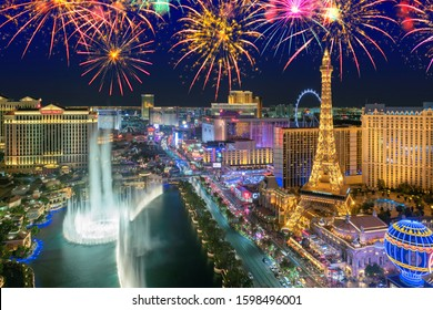 LAS VEGAS, USA - JULY 4, 2019: Independence day celebration fireworks on Las Vegas strip on July 4, 2019 in Las Vegas, USA. The Las Vegas is home to the largest hotels and casinos in the world.