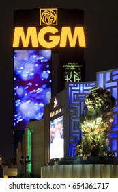 Las Vegas USA - July 4 2015: MGM Grand Hotel, the second largest hotel in the world and the largest hotel resort complex in the United States with 5124 room - at night.