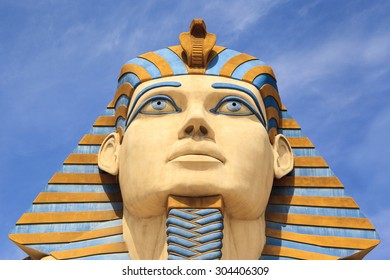 LAS VEGAS USA - JULY 5 2015: The Replica of Sphinx in front of Luxor Hotel in Las Vegas,  Luxor is Egypt-themed casino resort on the Strip.  About 40 million people visiting the city each year.