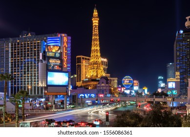 LAS VEGAS, USA - JULY 8, 2019:  Las Vegas strip skyline in Nevada as seen at night, on July 8, 2019 in Las Vegas, Nevada. Las Vegas is one of the top tourist destinations in the world.