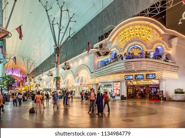 LAS VEGAS, USA - JUN 16, 2012 : people at Fremont street at Golden Nugget casino in downtown Las Vegas. The street is the second most famous street in the Las Vegas and dates back to 1905, w