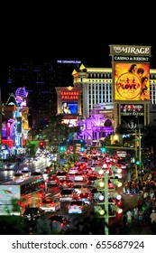 Las Vegas USA - Jun 17, 2015: Las Vegas boulevard lit up at night, known for its concentration of resort hotels and casinos. Most visible aspects of the dramatic architecture and lights.
