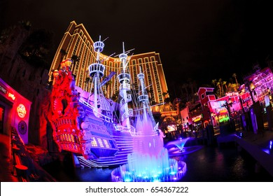 Las Vegas USA - Jun 18 2015: The outdoor live free show The Sirens of Treasure Island in Las Vegas, Nevada. The show presents several times nightly with a large cast of stunt performers.