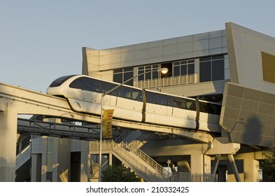 LAS VEGAS, USA - JUNE 22, 2014: Monorail arriving to astation off the Las Vegas Strip on June 22, 2014 in Las Vegas, USA.  Provides for a quick efficent travel between the major casino hotels.