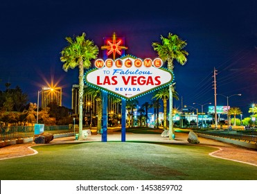 Las Vegas, USA - MAR 11, 2019: famous Las Vegas sign at city entrance, detail by night.
