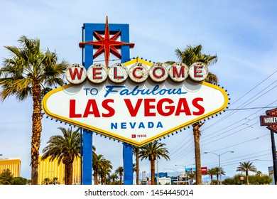 Las Vegas, USA - MAR 11, 2019: famous Las Vegas sign at city entrance, detail at daytime.