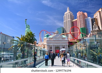 LAS VEGAS, USA - MARCH 19, 2018 : The bridge between MGM Grand and New York New York hotel over Las Vegas boulevard (The Strip). Beautiful blue sky sunny weather.