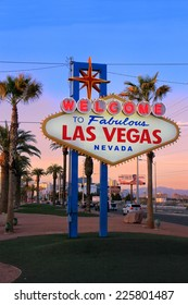 LAS VEGAS, USA - MARCH 19: Welcome to Fabulous Las Vegas sign at sunset on March 19, 2013 in Las Vegas, USA. Las Vegas is one of the top tourist destinations in the world.