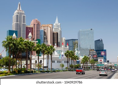 Las Vegas, USA - May 19, 2012. Excalibur Hotel and New York New York Hotel and Casino on Las Vegas Boulevard. Both resorts are owned and operated by MGM Resorts International