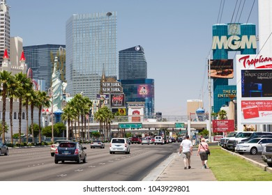 Las Vegas, USA - May 19, 2012. New York New York Hotel, Excalibur Hotel, and MGM Grand Hotels on The Strip, Las Vegas Boulevard. All three hotels are owned and operated by MGM Resorts International
