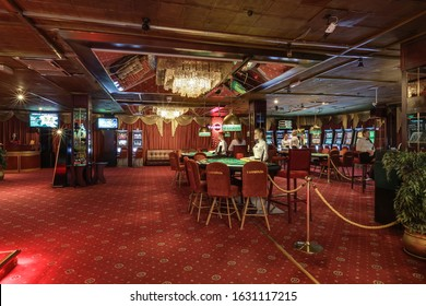 LAS VEGAS, USA - MAY, 2017: interior of elite luxury vip casino with poker tables and croupier
