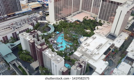 LAS VEGAS, U.S.A. - MAY 23, 2019: A view of the Flamingo hotel casino in Las Vegas from the High Roller Ferris wheel