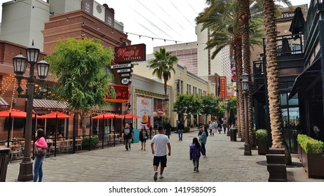 LAS VEGAS, U.S.A. - MAY 23, 2019: A pedestrian area in Las Vegas.